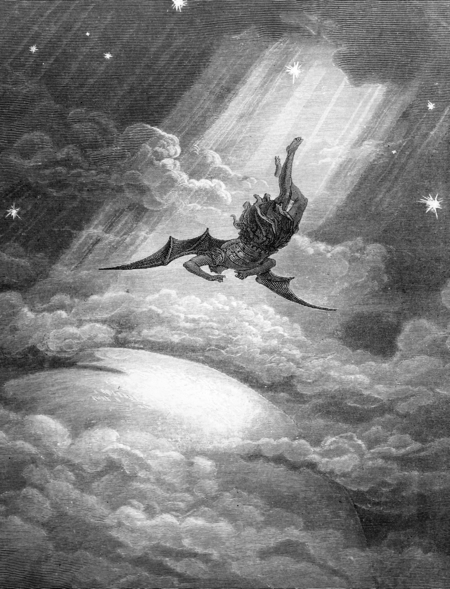 Satan being cast down from heaven, from Milton's Paradise Lost