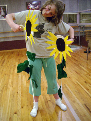 Molly with sunflower puppet prototypes