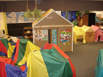 the media center with reading caves